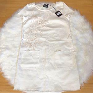 NWTNanette Lepore Embroidered White Denim Dress XS